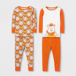 Cat & Jack Boys Orange Bear 3T Pajama Set